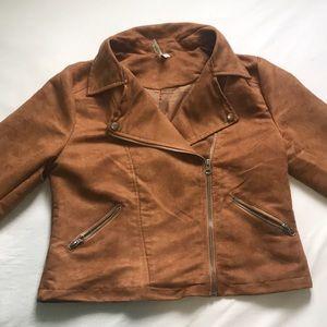 🍂Brown Suede Bomber Jacket